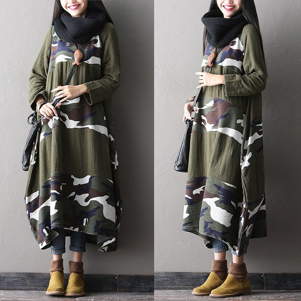 Women Cotton Loose Fitting Print Long Sleeve Dress