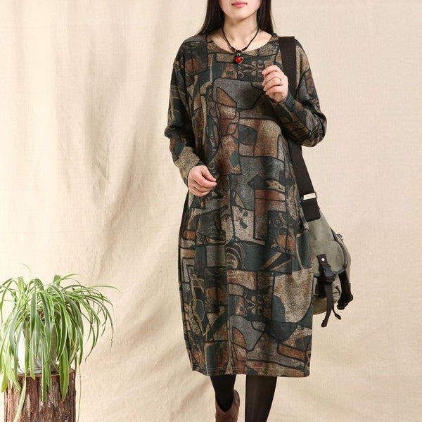 Women cotton vintage loose fitting long sleeve dress - Buykud