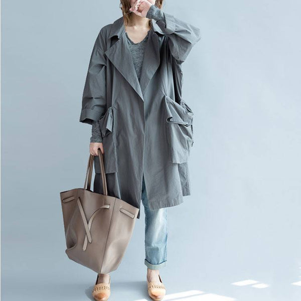 Women Gray Autumn 3/4 Sleeve Gray  Cotton Loose Thin Coat