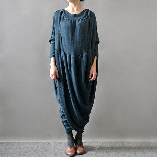 Women Knitting Acrylic Sweater Dress