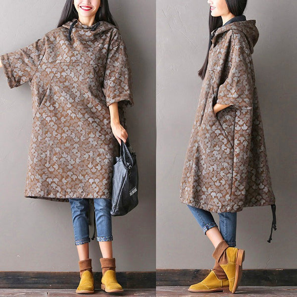 Women Large Autumn Hooded Coat