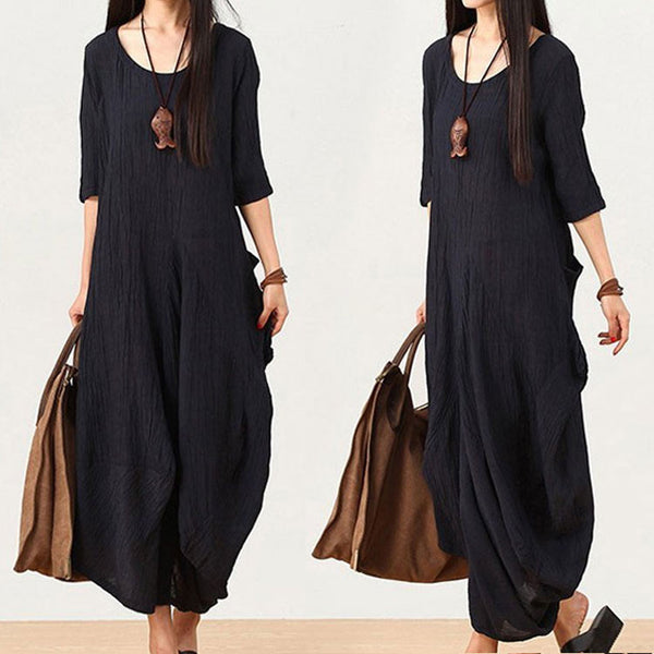 (M-2XL)women linen maxi dress short sleeve dress Irregular Loose Fitting dresses