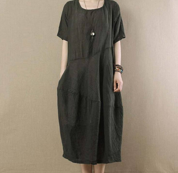 Women Linen Short Sleeve Dress