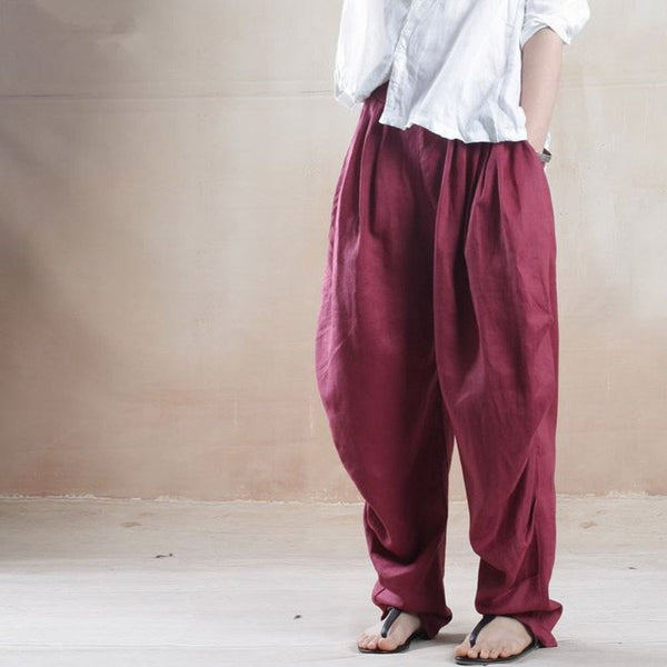 Women Linen Wide Leg Pants