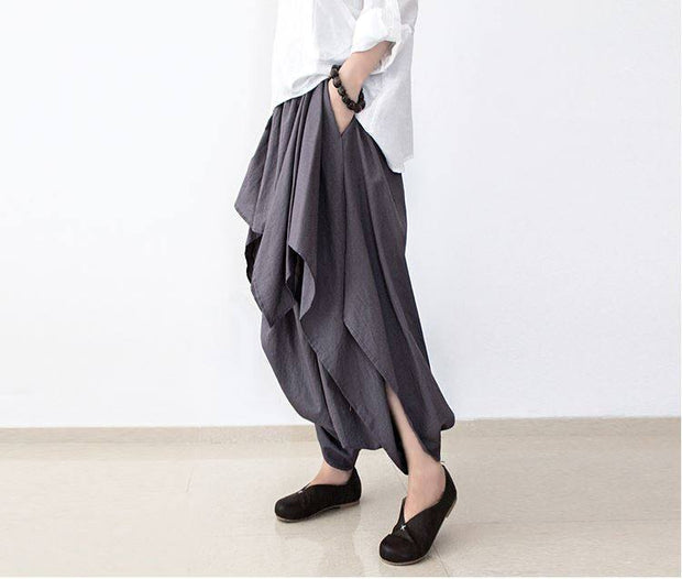 Women linen Wide leg pants - Buykud