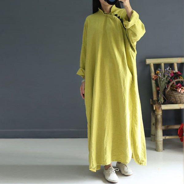 Women Long Sleeve Retro Linen Dress Yellow