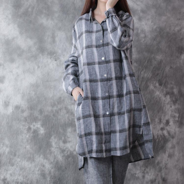 Women Loose Casual Linen Shirt Top