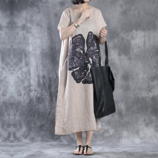 Women Print Summer Cotton Linen Dress
