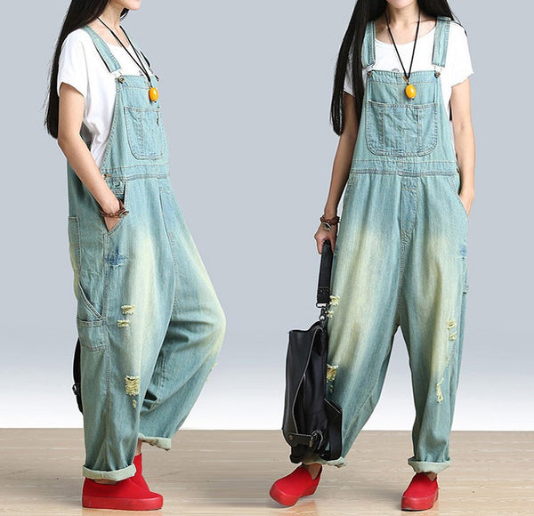 Women's Casual Loose Jumpsuit Romper Denim Overall - Buykud