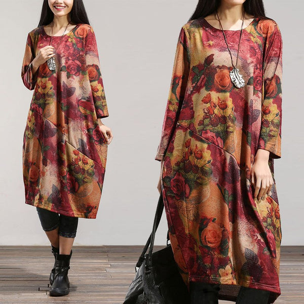 Women Spring Loose Long Sleeve Cotton Dress