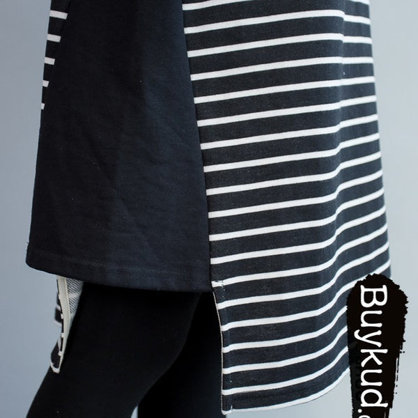 Women  Spring Stripe Thick Loose Cotton T-shirt