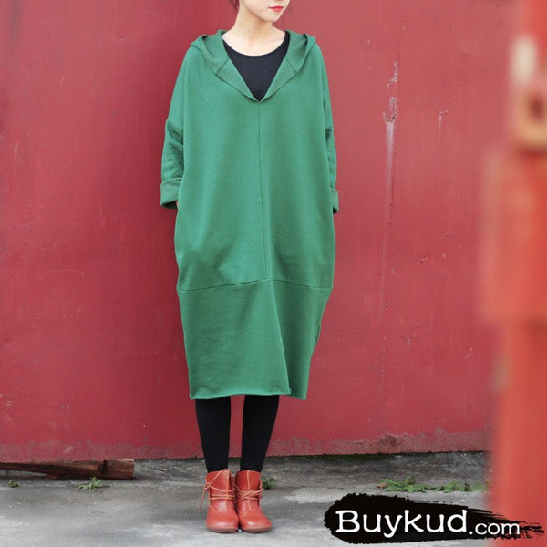 Women Spring Thickened Hooded Long Blouse