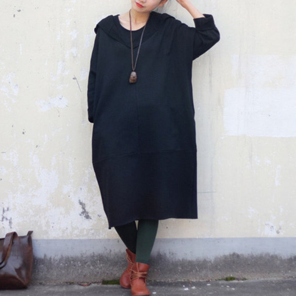 Women spring thickened hooded long blouse dress - Buykud