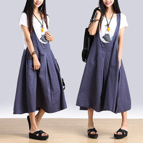 Women summer linen Loose Strap skirts - Buykud