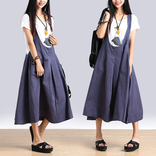 Women Summer  100% Linen  Loose Strap Skirts