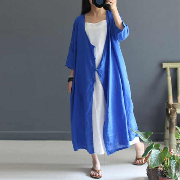 Women Summer 3/4 Sleeve Cotton Linen Coat