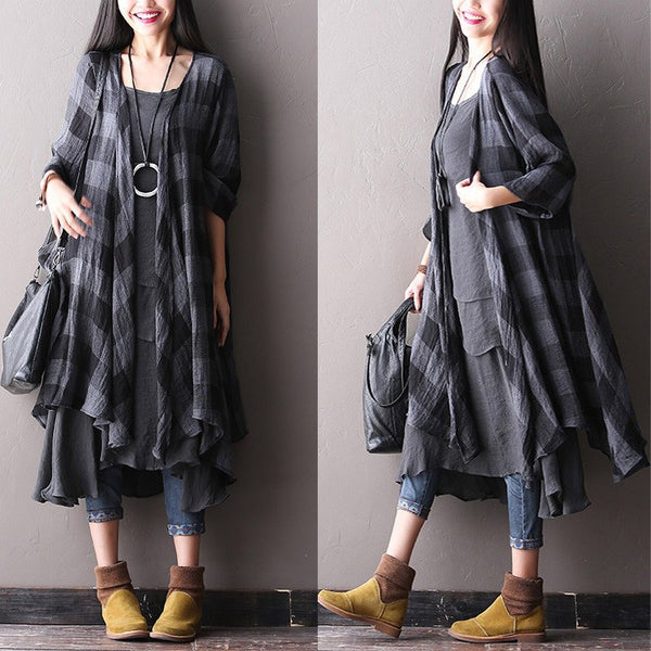 Women Summer Cotton Dress(coat And Vest Dress)