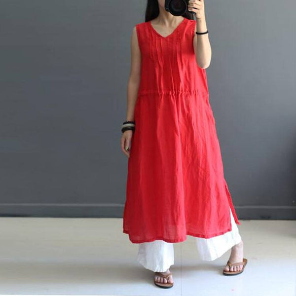 Women Summer Cotton Linen Dress