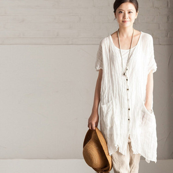 Women Summer Cotton Linen Loose Shirt