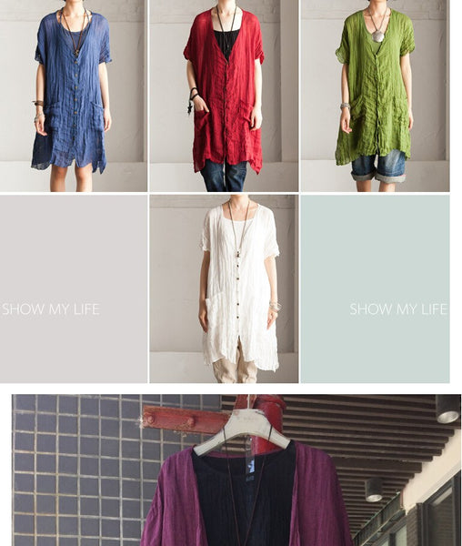 Women summer cotton linen Loose shirt - Buykud
