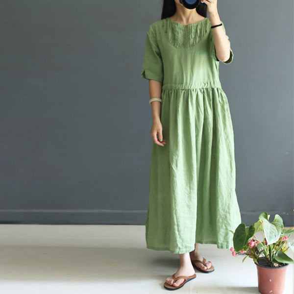 Women Summer Cotton Linen Short Sleeve Dress