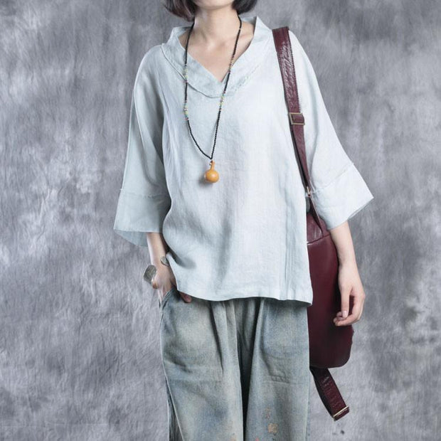 Women summer cotton linen top shirt - Buykud