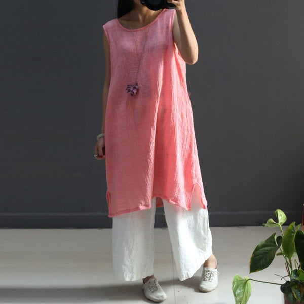Women Summer Cotton Linen Vest Dress