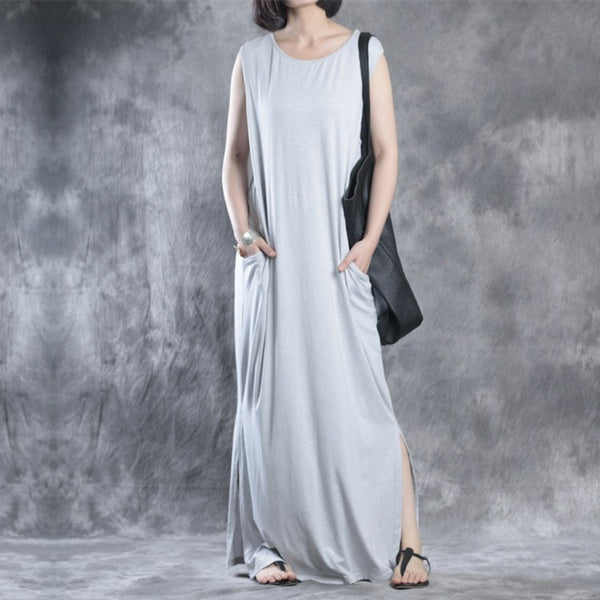 Women summer cotton long or no sleeve dress - Buykud