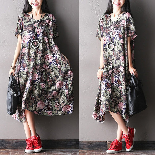 Women Summer Print Cotton Linen Dress