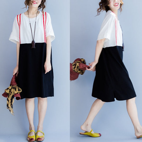 Women summer short sleeve cotton dress - Buykud