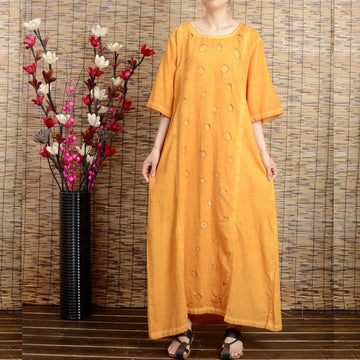 Women summer short sleeve cotton linen dress - Buykud