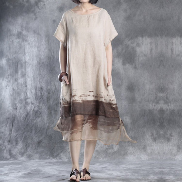 Women Summer Short Sleeve Linen Dress