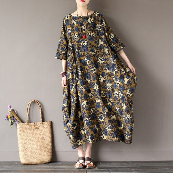 Women Vintage Cotton Linen Print Dress