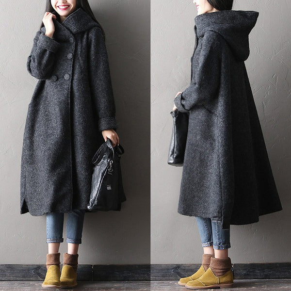 Women winter long woolen coat - Buykud