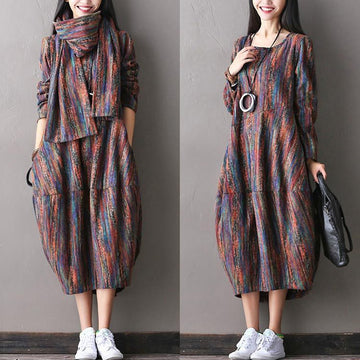 Women woolen autumn dress - Buykud