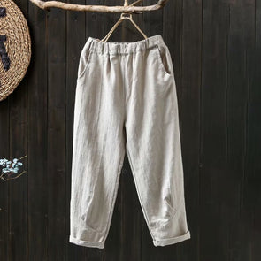 Women Cotton Linen Elastic Waist Autumn Ankle-length Pants