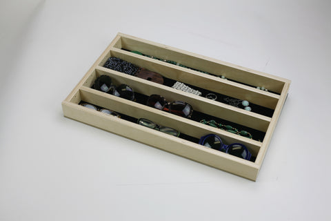 "Jewelry Tray Organizer Insert (G-CL-24-204)  Extended velvet bottom 22 3/8"" to 36"" wide and 11"" to 21"" depth"