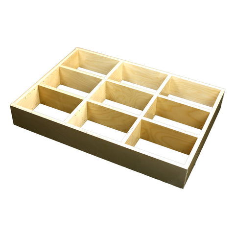 "3 Section Adjustable Divider (up to 9 cubicles) organizer insert.  Interior Drawer Dimension Range: Width 12"" to 24'"", Depth 16 1/16"" to 21"", Height 2"" to 6"". (G-09)"