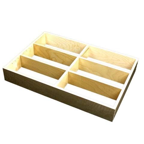 "2 Section Adjustable Divider (up to 6 cubicles) organizer insert.  Interior Drawer Dimension Range: Width 12"" to 24'"", Depth 16 1/16"" to 21"", Height 2"" to 6"". (G-08)"