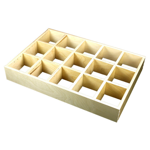 "5 Section Adjustable Divider (up to 15 cubicles) organizer insert.  Interior Drawer Dimension Range: Width 24 1/16"" to 36"", Depth 16 1/16"" to 21"", Height 2"" to 6"". (G-14)"