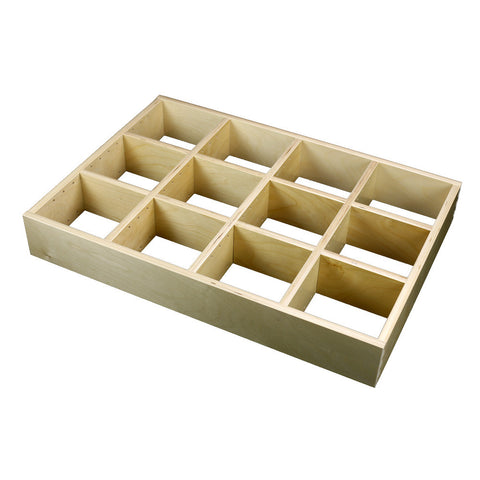 "4 Section Adjustable Divider (up to 12 cubicles) organizer insert.  Interior Drawer Dimension Range: Width 24 1/16"" to 36', Depth 16 1/6"" to 21"", Height 2"" to 6"". (G-12)"