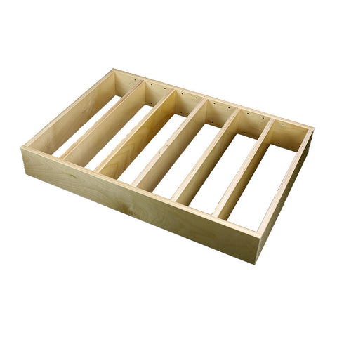 "1 Section Adjustable Divider (up to 6 cubicles) organizer insert.  Interior Drawer Dimension Range: Width 24 1/16"" to 36'"", Depth 16 1/16"" to 21"", Height 2"" to 6""."