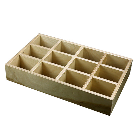 "4 Section Adjustable Divider (up to 12 cubicles) organizer insert.  Interior Drawer Dimension Range: Width 24 1/16"" to 36"", Depth 8"" to 16"", Height 2"" to 6"". (G-05)"