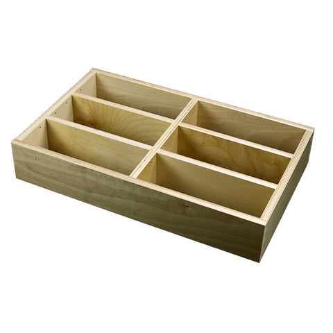 "2 Section Adjustable Divider (up to 6 cubicles) organizer insert.  Interior Drawer Dimension Range: Width 12"" to 24'"", Depth 8"" to 16"", Height 2"" to 6"". (G-01)"