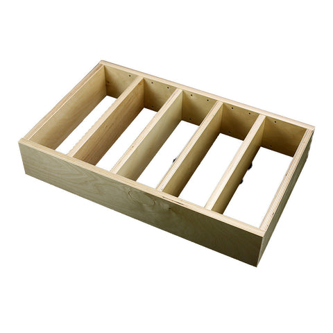 "1 Section Adjustable Divider (up to 6 cubicles) organizer insert.  Interior Drawer Dimension Range: Width 24 1/16"" to 36"", Depth 8"" to 21"", Height 2"" to 6""."