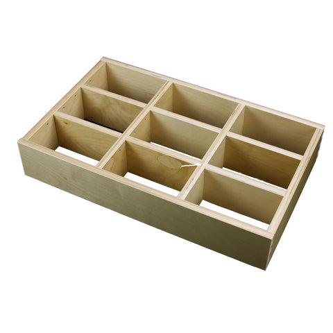 "3 Section Adjustable Divider (up to 9 cubicles) organizer insert.  Interior Drawer Dimension Range: Width 12"" to 24'"", Depth 8"" to 16"", Height 2"" to 6""."
