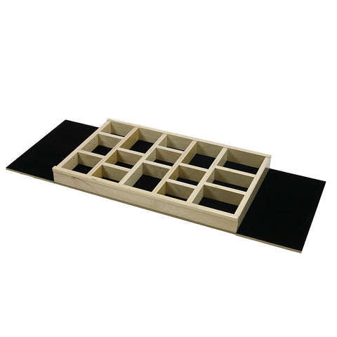 "Jewelry Tray Organizer Insert (G-CL-24-202) Extended velvet bottom 22 3/8"" to 36"" wide and 11"" to 21"" depth"