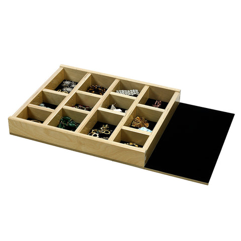 "Jewelry Tray Organizer Insert (G-CL-18-202) Extended velvet bottom, 16 3/8"" to 23 3/8"" wide and 11"" to 21"" depth"