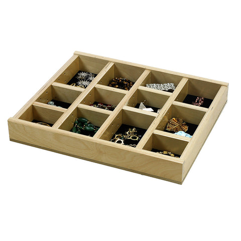 "Jewelry Tray Organizer Insert (G-CL-18-201) 16 3/8"" wide and 11"" to 21"" depth"
