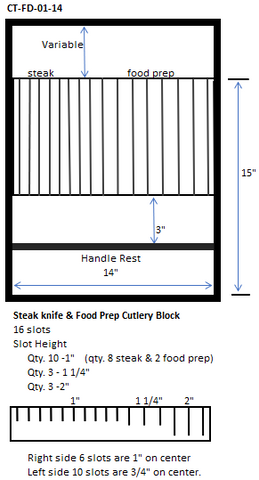 "Cutlery & Steak knife combo Storage Block (CT-FD-01-14)   14""w. x Depth* x 2 1/2"" H (*Depth dimension order to fit drawer.)"
